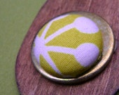 Retro Lime Green Fabric Wood Earrings