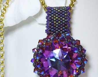 Purple Blue Regal Swarofski Crystal Woven Beaded Pendant