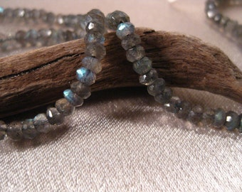 Labradorite 3-4 mm Faceted Rondelles. 1/2 Strand. Lots of Blue Sparkle. Bridal Stones. High Quality.
