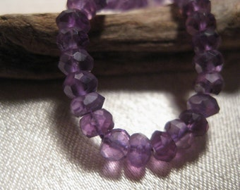 AAA Amethyst 4-5 mm Faceted Rondelles.1/2 Strand. Deep Purples, High Quality.