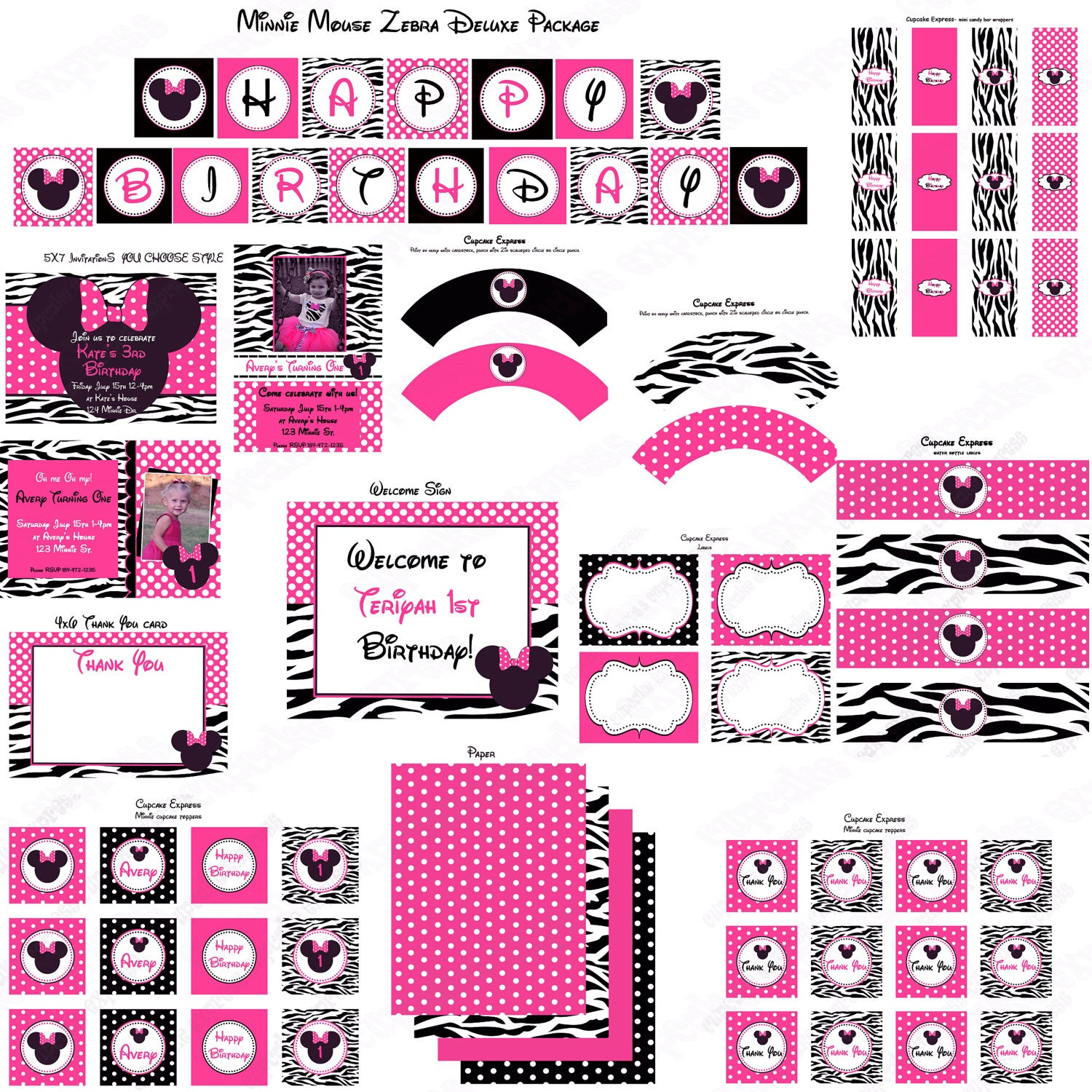 Diy Minnie Mouse Hot Pink Zebra Deluxe PRINTABLE Birthday