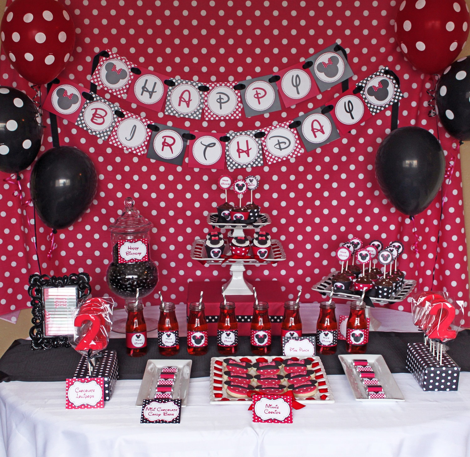 Minnie Mouse Birthday Party Package Red Deluxe PRINTABLE