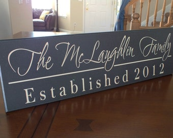 "Personalized Family Name Sign Established Sign Custom Name Sign 7""x24"""