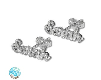 Personalized Sparkling Sterling Silver Name Stud Earring