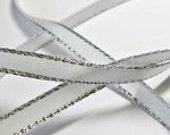 White Satin Ribbon with Lurex Silver Edge - 5 yards Increments