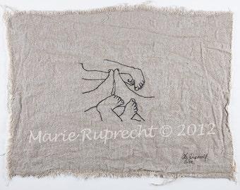 MEET : Original Fine Art Embroidery - Fibre Art - Hand Embroidery - Contemporary Embroidery Art