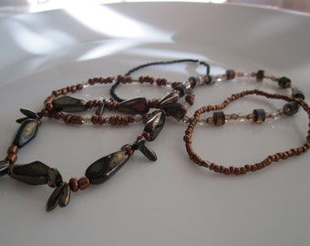 Five beaded stretchy bracelets