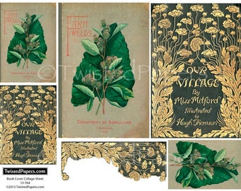Antiquarian Book Cover Digital Vintage Collage Sheet for ATC (2.5x3.5), Die-Cut (4x6), ACEO, Journal, 13-764