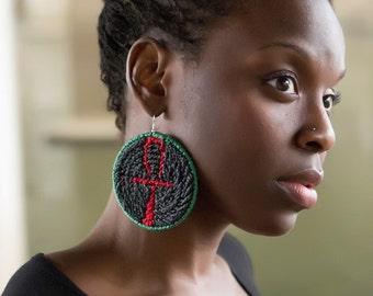 Return of The Ankh Plastic Canvas Hypnotiv Earrings