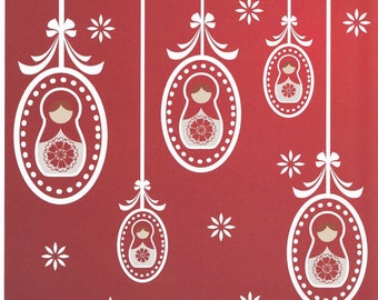 Russian Doll / Babushka Christmas Cards Pack of 10
