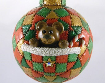 Christmas Ornament with Teddy bear and Candy Cane