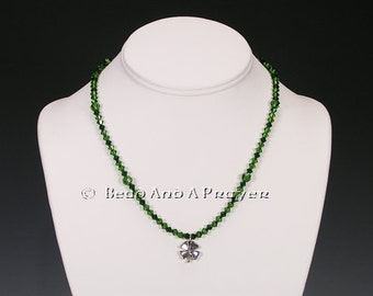 """Sterling Silver  """"Luck Of The Irish"""" 4 Leaf Clover Swarovski  Beaded Necklace"""