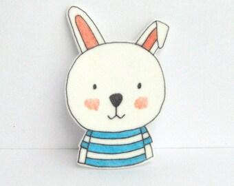 Rabbit Brooch with striped T-shirt. Rabbit Pin