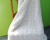 Beautiful Ivory Hand Crochet Winter Warmer Afghan Throw Blanket - Free Shipping!