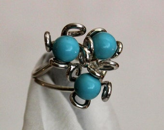 Sterling Silver .925 Three Flower Ring Turquoise. FREE SHIPPING