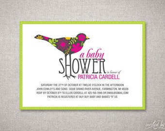 Whimsical Floral Bird Personalized Unique Baby Shower Invitation - DIY Digital Printable or Printed Invite