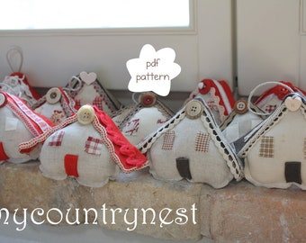 Pattern: Winter houses -house pattern-nordic style house pdf  pattern- Christmas tree hanging pattern