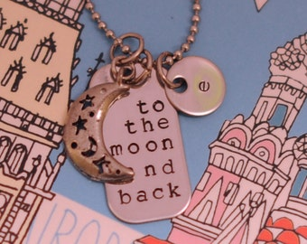 To the Moon and Back  Personalized Hand Stamped Necklace with custom initial discs