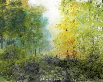 Original Watercolor Forest Scene Landscape