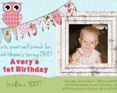 Scrapbook Inspired Owl Birthday Party Invitations
