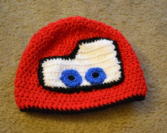 Crochet Lightning McQueen Hat
