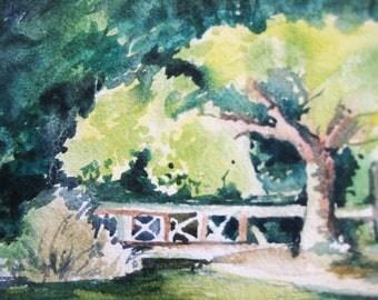 "Garden Watercolor painting, Watercolor painting original 7""x10"" Garden, Park, Nature"