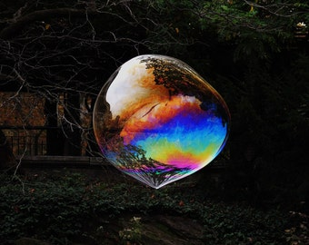 The Bubble - Bubble In Nature - Wall Decor - Colorful Bubble -  Reflections - Kid's Room Decor - Abstract Art - Autumn Bubble
