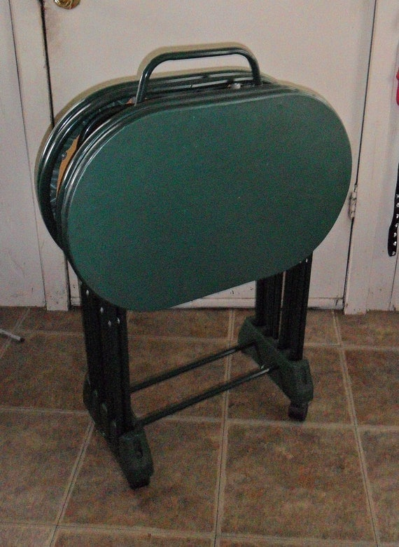 vintage cosco green oval tv tray tables folding snack. Black Bedroom Furniture Sets. Home Design Ideas