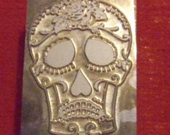 "Letterpress Printing Block ""Tragedy - Sugar Skull"" - Letterpress Blocks - Print Blocks - Mounted Letterpress Block -"