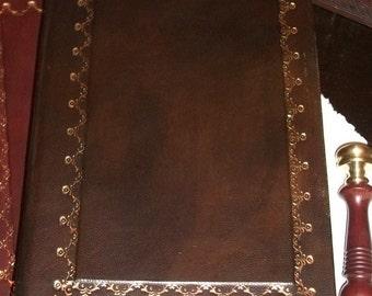 Italian handmade leather journal - golden decoration- Baroque model
