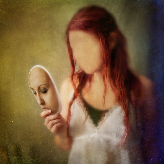 At The End Of The Day Conceptual Photograph. girl portrait, dark art, surreal photo print, mask, face, red