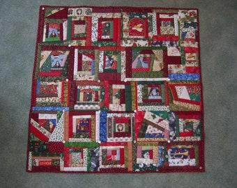 100% hand sewn Crazy Christmas patchwork quilt throw