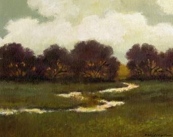 Custom original oil painting large landscape 36x48 canvas, evening, river, rivers, stream, dark reds, streams, green, gray, fields, trees