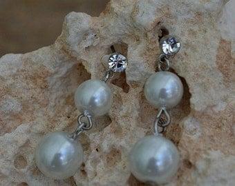 Vintage Pearl & Rhinestone Earrings