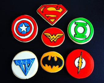 12 Superhero emblem cookies