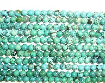 6mm Round Turquoise Beads Genuine Natural AB Grade 15''L 38cm Loose Beads Semiprecious Gemstone Bead   Supply