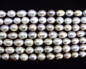 8-9mm Rice Purple Freshwater Pearl 15 inches length, 38 cm-