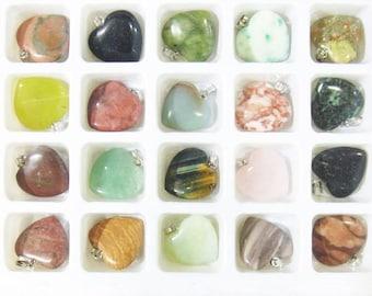 Wholesale Lot Semi Gemstone Pendants Heart  - 4409-