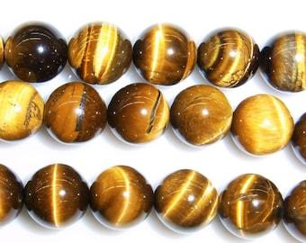 8mm Round Tigereye Beads Genuine Natural 7233 15''L 38cm Loose Beads Semiprecious Gemstone Bead   Supply