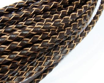 3mm Braided Genuine Leather Cord  Brown String - 3560 - Wholesale Leather Cord