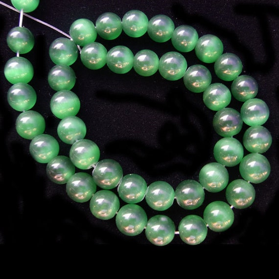 Emerald Bead Beads: Cat Eye Beads 10mm Round Emerald Green 15L 38cm Loose