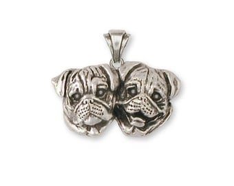 Sterling Silver Double Pug Pendant  - PG40P