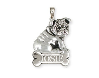 Sterling Silver Personalized Bulldog Pendant Jewelry  BD31-NP