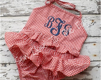 Girls Red Gingham Ruffled Swimsuit - Monogram Bikini - Personalized Monogrammed SWIMWEAR - Toddler and Youth SWIMSUIT
