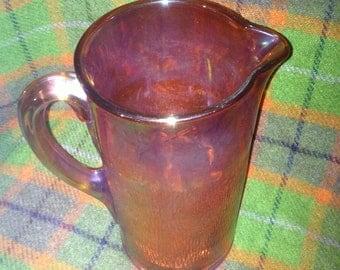 Vintage  Marigold Carnival Glass Tree Bark Pitcher