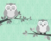 Cute Owls - Digital Image - INSTANT DOWNLOAD Graphics - Printables - DIY - Iron on pillows, fabric, totes, t-shirts, paper, napkins - 1517