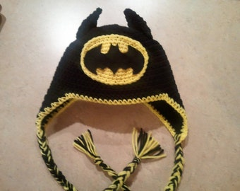 Batman Crochet Hat with Earflaps