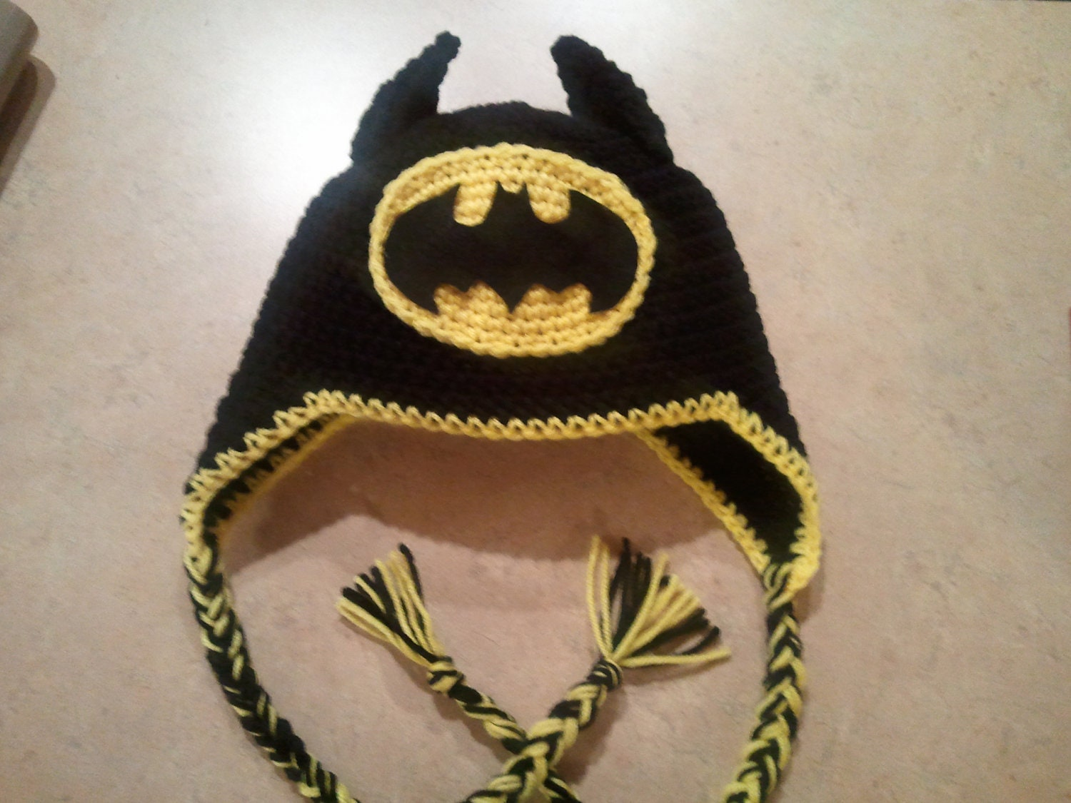 Crochet Pattern Batman Hat : Batman Crochet Hat with Earflaps