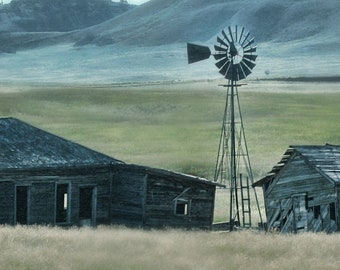 Home on the Plains--abandoned, farm, wyoming, windmill, 30x10, fine art, photography