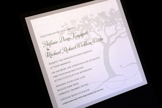 Printable Wedding Invitation with RSVP - 5x5 Elegant Tree, printable wedding invitation with rsvp